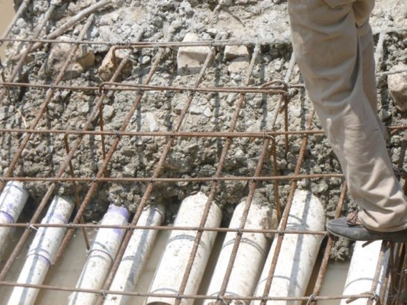 Closeup of reinforced concrete for river crossing